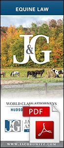 The cover of the Equine Law Brochure from Jacobowitz & Gubits, LLP in Walden, NY